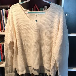 Rue21/No Comment White Sweater with V-neck